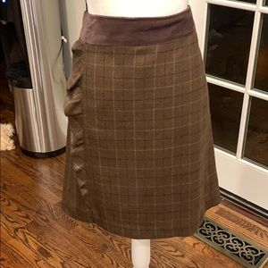 J McLaughlin suede banded  plaid skirt